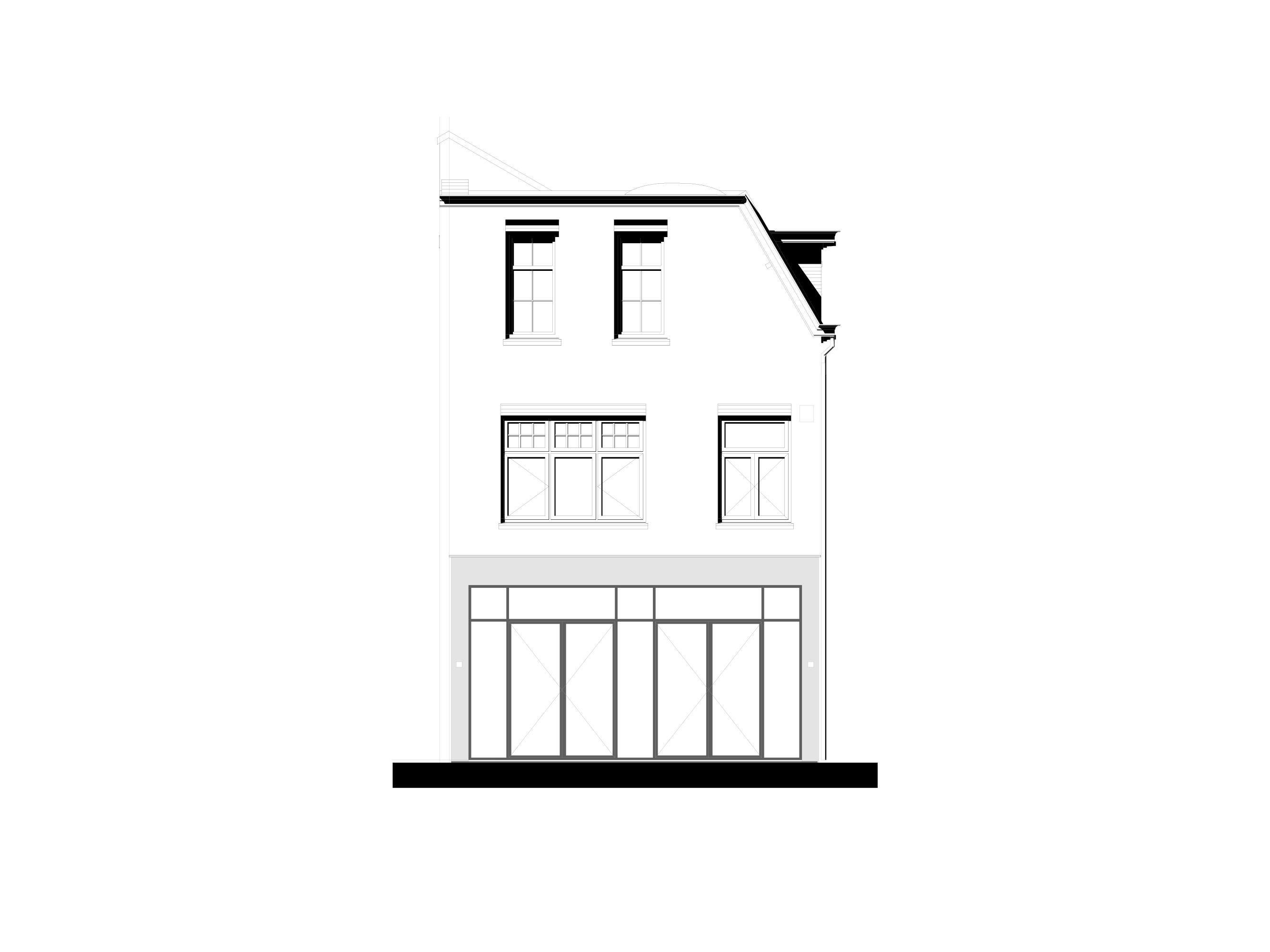 moderne uitbouw aan klassiek huis